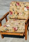 ANTIQUE MCM RATTAN BAMBOO LOUNGE SIDE ARM CHAIR W/ CUSHIONS MADE IN ITALY