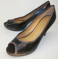 Nine West Womens Heels CHASSY US 8 M Black Multicolor Leather Snake Embossed