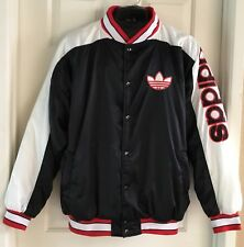 VTG Adidas Men XL Size Snap Quilted Spellout Trefoil Satin Jacket Made In Taiwan