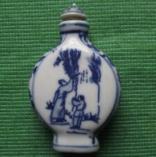 Old Blue and White Pottery Chinese Japanese Snuff Perfume Bottle Fired Glaze F
