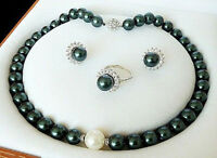 Genuine 10mm Peacock Black South Sea Shell Pearl Necklace Earrings Ring Set AAA