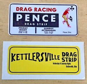 "2 Vintage 1960's Bumper Stickers Pence & Kettlersville Drag Strip NHRA Racing 5"""