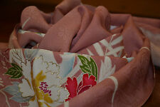 Japanese Silk Salmon Pink with flowers 1128