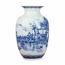 Tabletop Classic Style Flower Vases Porcelain White Blue Chinese Style Container