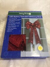 LED Battery Operated Glittering Bow RED New