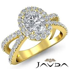 Halo Oval Diamond Split Shank Engagement Ring GIA F VS2 18k Yellow Gold 2.25ct