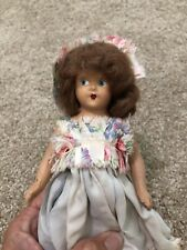 Antique Composition Doll Brown Hair, Blue/Pink Dress Blue Eyes