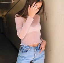 Last One brandy melville PINK cropped sheer ruffle trimmed RENE GLITTER TOP NEW