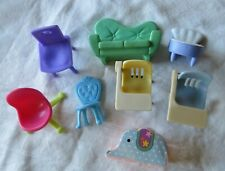 Polly Pocket Dollhouse Green Sofa & Lot of Other Small Furniture, Desks, Chairs