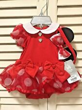 Disney Store Red Minnie Mouse Baby Girl Infant Halloween Costume & Headband 3M