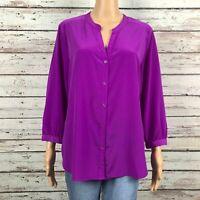 Old Navy V-neck Button Front Satin Modern Blouse Shirt LARGE Bright Posh Purple