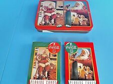 "CHRISTMAS- COCA-COLA ""SANTA PLAYING CARDS"" 2 DECKS IN COLLECTIBLE TIN~1995 ~NIB!"