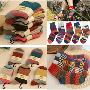 5 Pairs Casual Women Wool Cashmere Thick Winter Sports Socks Warm Soft Solid