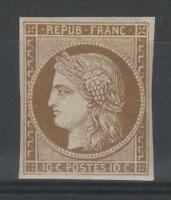 "FRANCE YVERT 1f SCOTT 1d "" CERES 10c YELLOW BISTRE RE ISSUE1862 "" MNH VF P458"