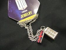 NWT BBC TV Doctor Dr Who Tardis Call Box Phone Booth Logo Pendant Chain Necklace