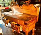 ANTIQUE FRENCH BUTCHER BLOCK TABLE 1850's 2 Bronze Steer Heads