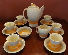 Vintage Art Deco Susie Cooper Kestrel Shape Coffee Set Orange Banding VGC
