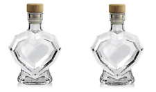 2x Diamond Heart Shape Glass Bottle 5 Inches Tall 200ml Gift For Her Jar