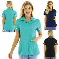 Women Doctor Nurse Short Sleeves Tunic Uniform Hospital Scrub Top Uniform Shirts