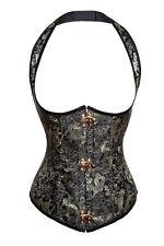 S Brocade Metal Lock Underbust Halter Corset Vest Renaissance Steampunk Costume