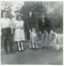 1940s Photo Mathews Family Group Chubby Girl Little Boy Collie Dog Kansas City