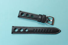 Genuine Leather Rally Watch Strap  20mm Black