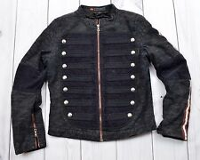 Womens Parasuco Jean Jacket Full zip Buttons Military Style Steampunk Black Sz L