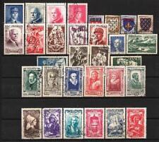 France année complète 1943 Yvert n° 568 à 598 sans 2 bandes oblitérés 1er choix