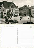 Hildesheim Markt mit Rathaus und Templer-Haus, Auto VW Käfer 1960