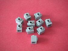 Lego 10 briques à connecteur / Light Bluish Gray bricks stud on 1 side REF 87087