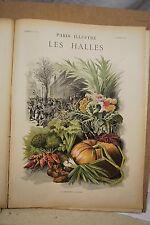 ESTAMPE 19è Couleur G.FRAIPONT Les HALLES Paris Illustré typogravure 1886 Gillot