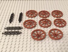 Lego X8 New Large Wagon Wheels 34mm And X4 Plate 1x4 With Wheels Holder Parts