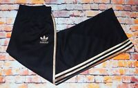 Adidas Womens Loose Fit Black Gold Retro Trefoil Tracksuit Bottoms Size Small