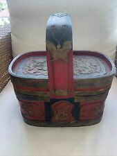 Antique Basket Chinese Chinoiserie Gilding Bamboo Lunch Box China 19 Century