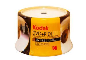 50 KODAK Blank DVD+R DL Dual Layer 8.5gb 8x White Inkjet Printable Disc Tub
