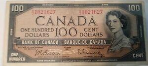 100 Dollar Canadian Bill, 1954 (Rare)