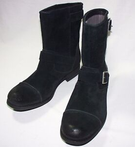 UGG Australia M Lacing Dual Buckle Cap Toe Boots, Leather & Suede, Black, New