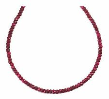 Red Ruby Necklace Solid Strand Faceted 14k gold filled link chain 5mm 18 19 inch