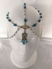 VINTAGE BLUE GOLD CHAIN HEADBAND HEADPIECE Bridal Pearls WEDDING BOHO GRECIAN