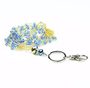 Three Layers Braided Seed Beads Crystal Necklace LANYARD key chain