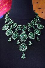 Statement Kette XXL Blogger Strass Collier Glamour pur grün Necklace NEU