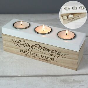 Personalised Candle Tea Light Holder In Loving Memory Memorial Gift Couple
