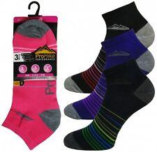 Ladies Multi Purpose Pro Hike Performance Trainer Liner Sport Socks Shoe 4 to 8 2044 Stripe Toe 3 Pairs