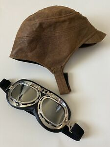 amelia earhart aviator hat + goggles aviation costume science fair props Worn 1x