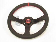 Sparco Champion Steering Wheel 330mm Black Leather Round Red Stitching & Stripe