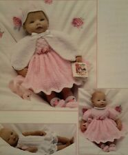 "Pretty Knitting Pattern Baby Doll Premature &Tiny Baby 8"" 4 Ply 10"" & 12""  in DK"