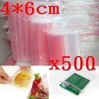 500 PCS 4 x 6cm Plastic Clear Zip Zipper  Reclosable Storage Bags