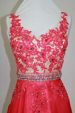 Women's Formal V-neck Rhinestones Sequins beaded Long Evening Gown prom dress