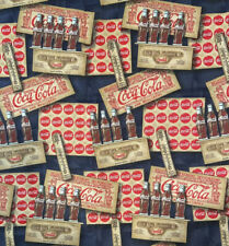 Coca Cola  Santa on Cotton Fabric BANDANA Vintage FABRIC USA ship FAST