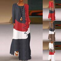 ZANZEA Women Long Sleeve Floral Patchwork Maxi Dresses Autumn Beach Kaftan Tunic